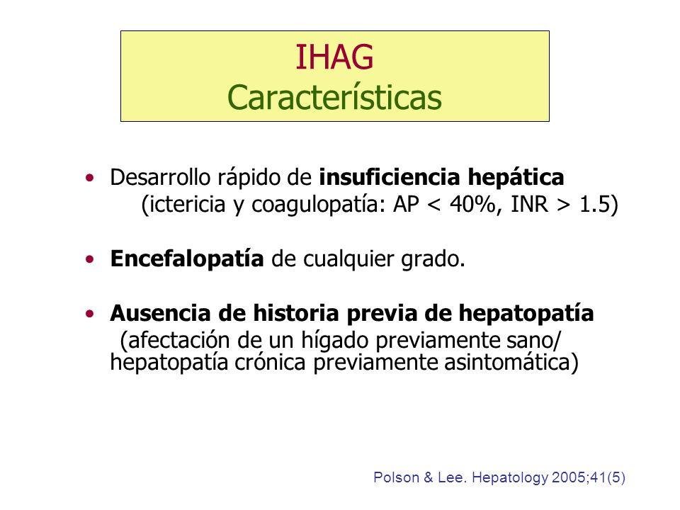 IHAG Características Desarrollo rápido de insuficiencia hepática