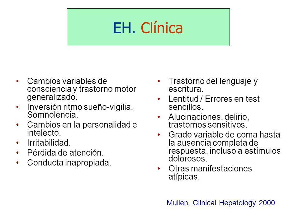 EH. Clínica Cambios variables de consciencia y trastorno motor generalizado. Inversión ritmo sueño-vigilia. Somnolencia.