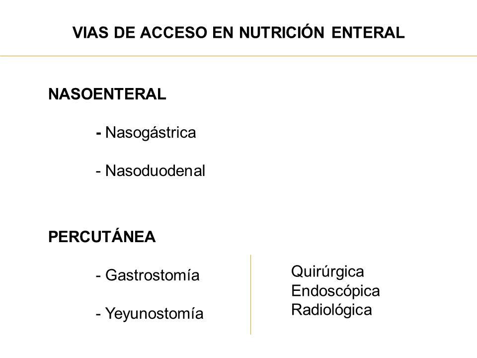VIAS DE ACCESO EN NUTRICIÓN ENTERAL