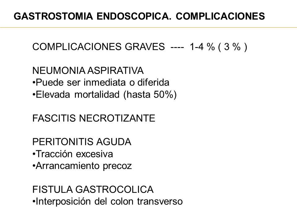 GASTROSTOMIA ENDOSCOPICA. COMPLICACIONES