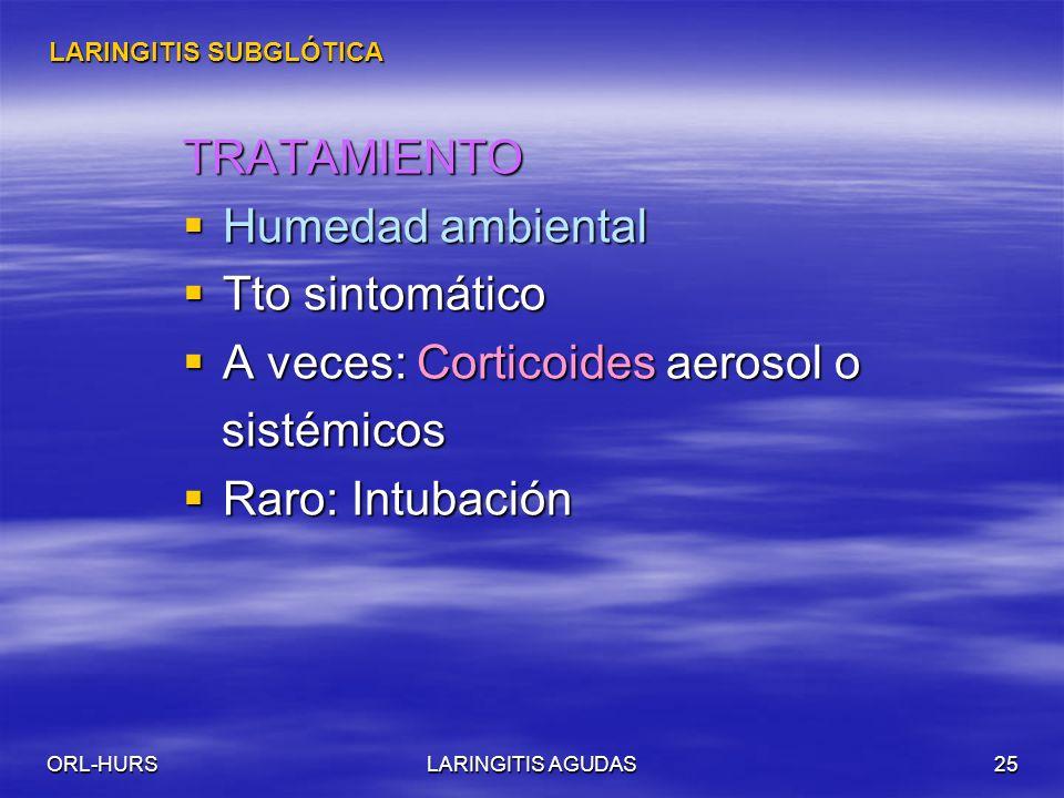 A veces: Corticoides aerosol o sistémicos Raro: Intubación