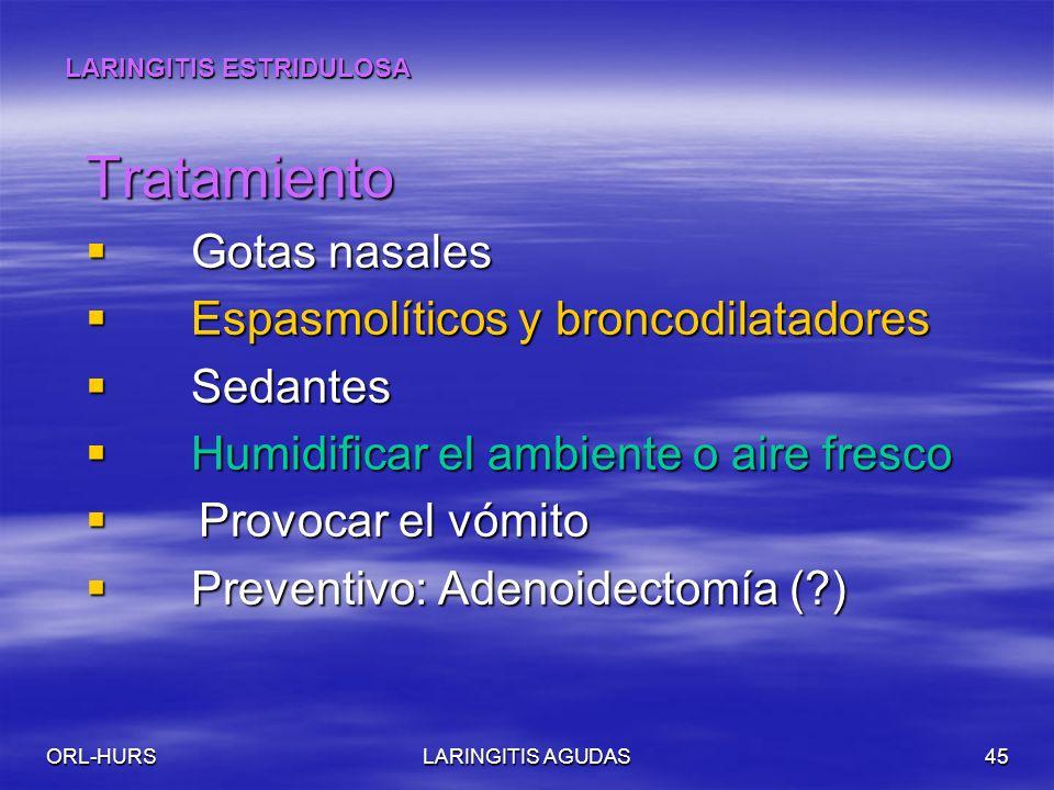Tratamiento Gotas nasales Espasmolíticos y broncodilatadores Sedantes