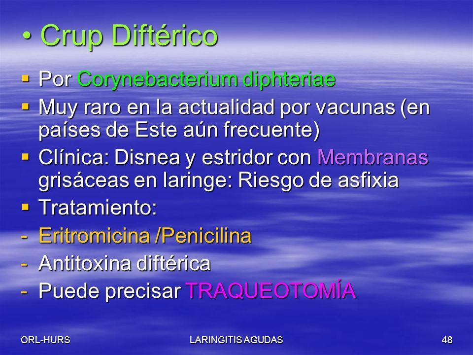 Crup Diftérico Por Corynebacterium diphteriae