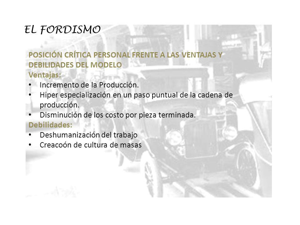 EL FORDISMO POSICIÓN CRÍTICA PERSONAL FRENTE A LAS VENTAJAS Y DEBILIDADES DEL MODELO. Ventajas: Incremento de la Producción.