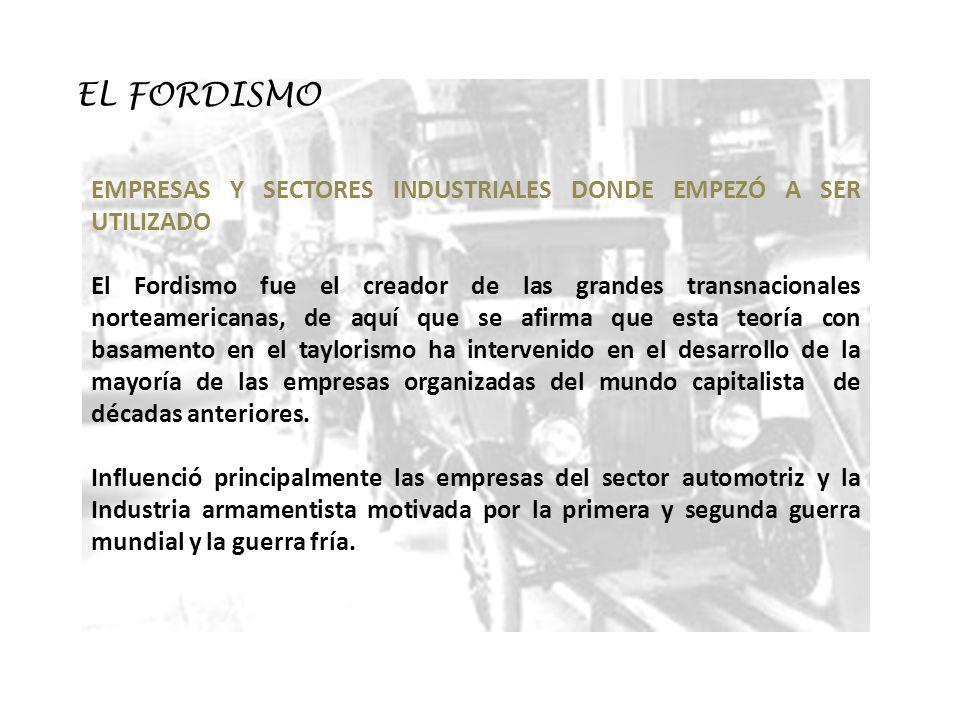 EL FORDISMO EMPRESAS Y SECTORES INDUSTRIALES DONDE EMPEZÓ A SER UTILIZADO.