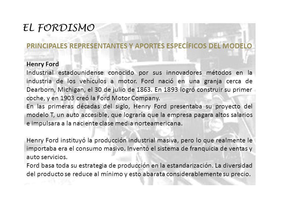 EL FORDISMO PRINCIPALES REPRESENTANTES Y APORTES ESPECÍFICOS DEL MODELO. Henry Ford.