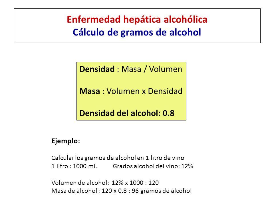 Enfermedad hepática alcohólica Cálculo de gramos de alcohol