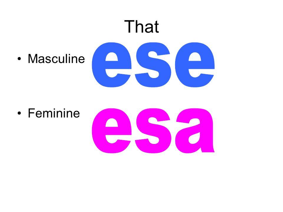 That ese Masculine Feminine esa