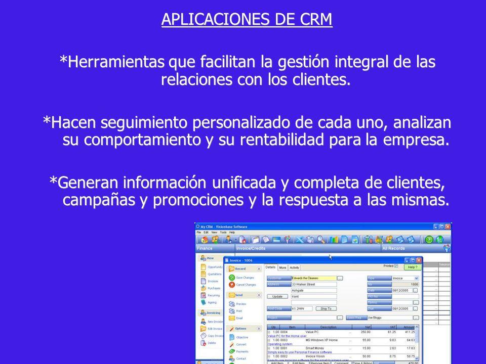 APLICACIONES DE CRM *Herramientas que facilitan la gestión integral de las relaciones con los clientes.