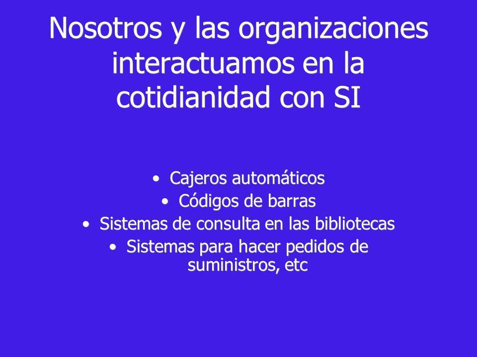 Nosotros y las organizaciones interactuamos en la cotidianidad con SI
