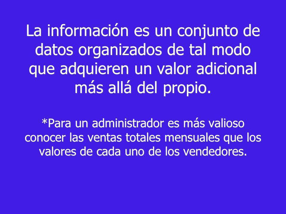 La información es un conjunto de datos organizados de tal modo que adquieren un valor adicional más allá del propio.