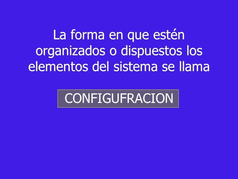 La forma en que estén organizados o dispuestos los elementos del sistema se llama CONFIGUFRACION