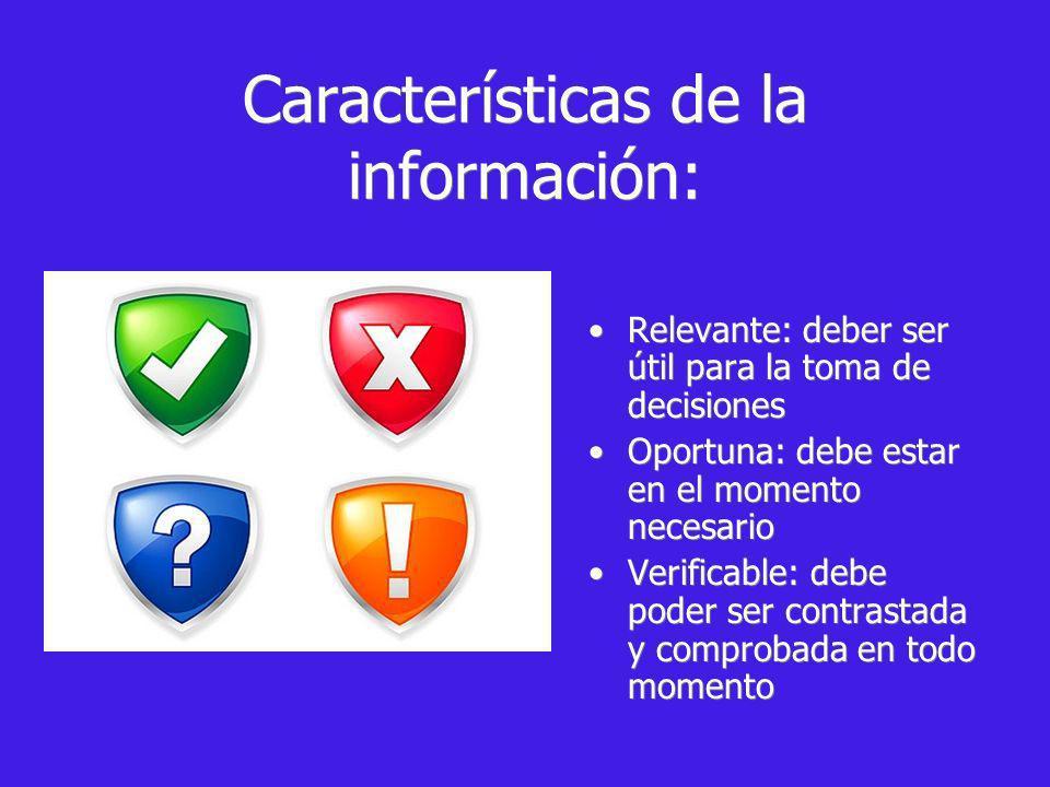 Características de la información: