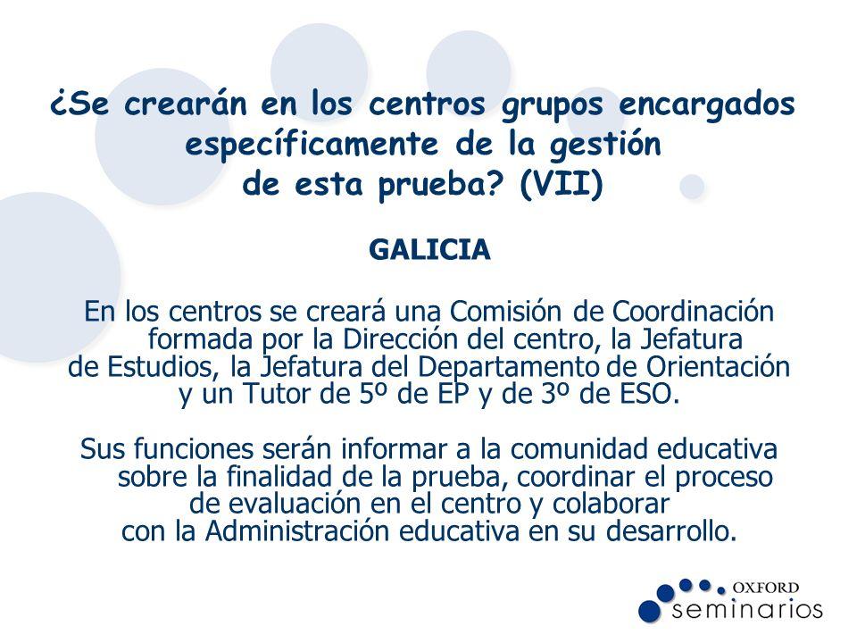 ¿Se crearán en los centros grupos encargados específicamente de la gestión de esta prueba (VII)