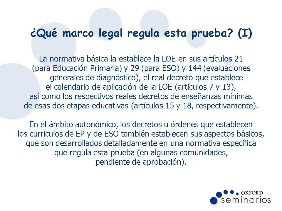 ¿Qué marco legal regula esta prueba (I)