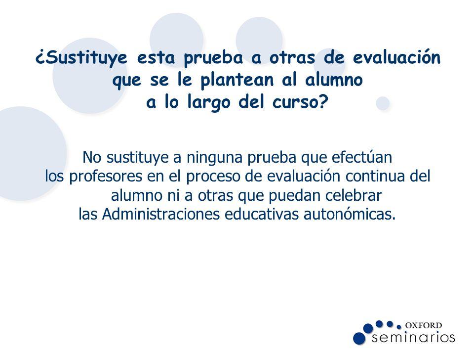 ¿Sustituye esta prueba a otras de evaluación que se le plantean al alumno a lo largo del curso