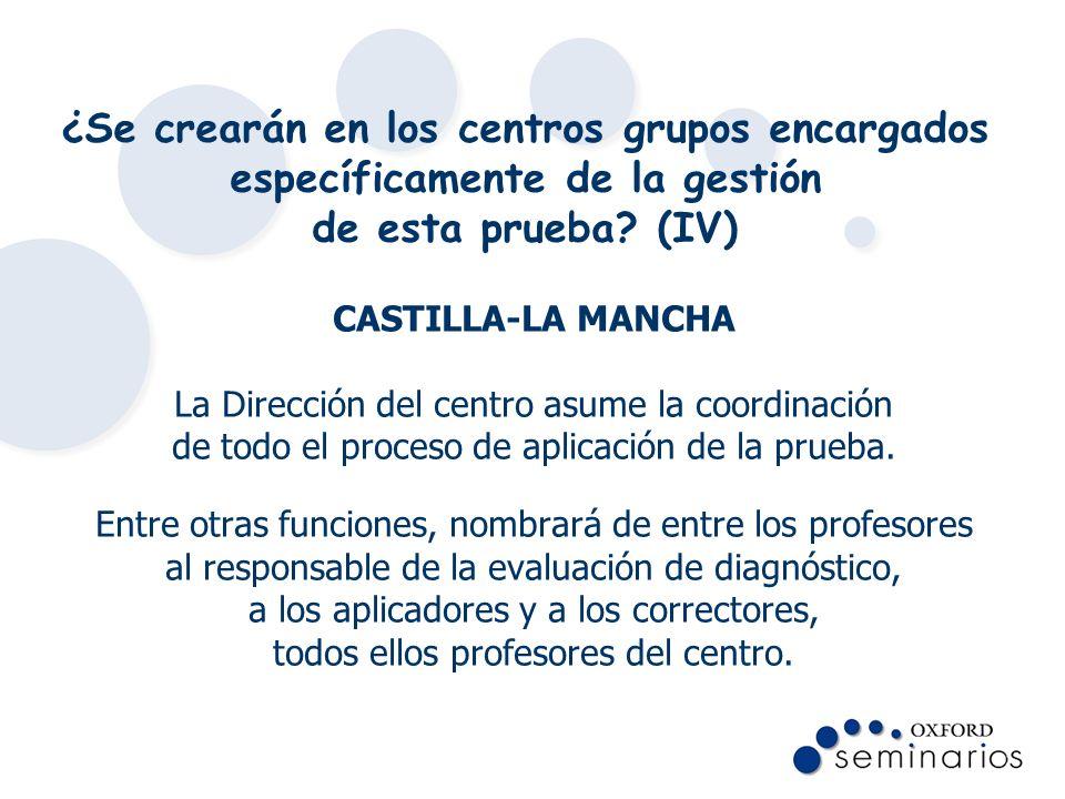 ¿Se crearán en los centros grupos encargados específicamente de la gestión de esta prueba (IV)