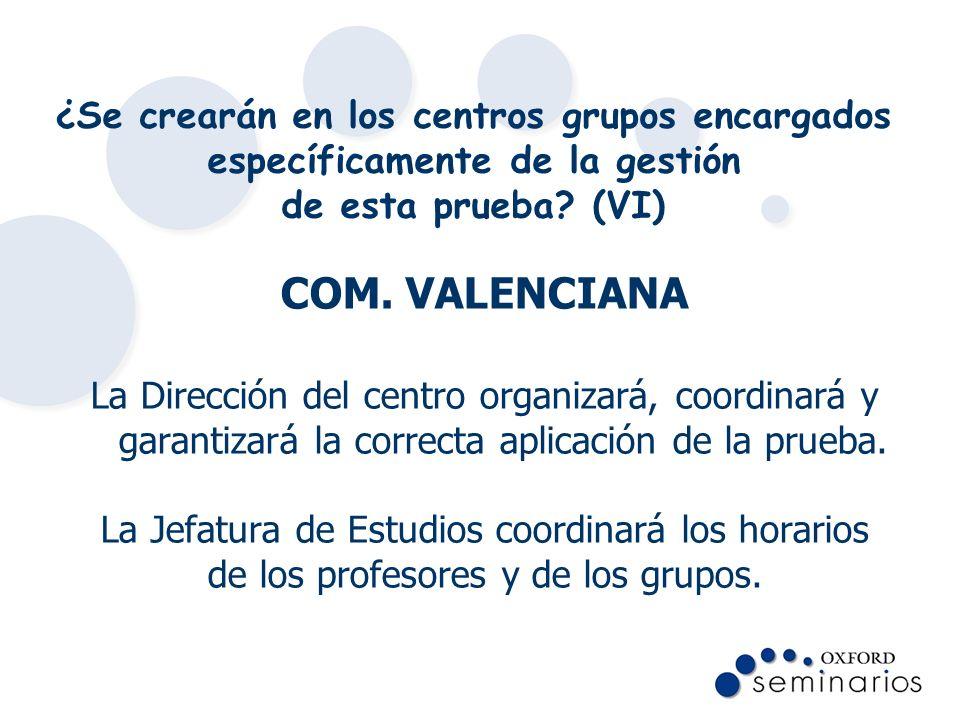 ¿Se crearán en los centros grupos encargados específicamente de la gestión de esta prueba (VI)