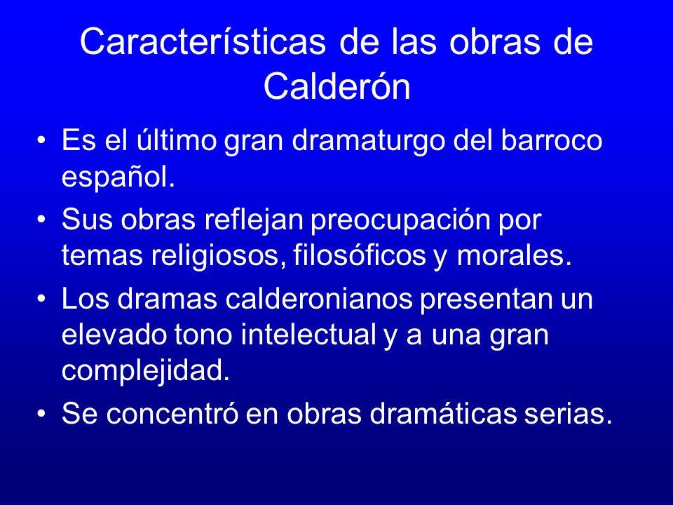 Características de las obras de Calderón