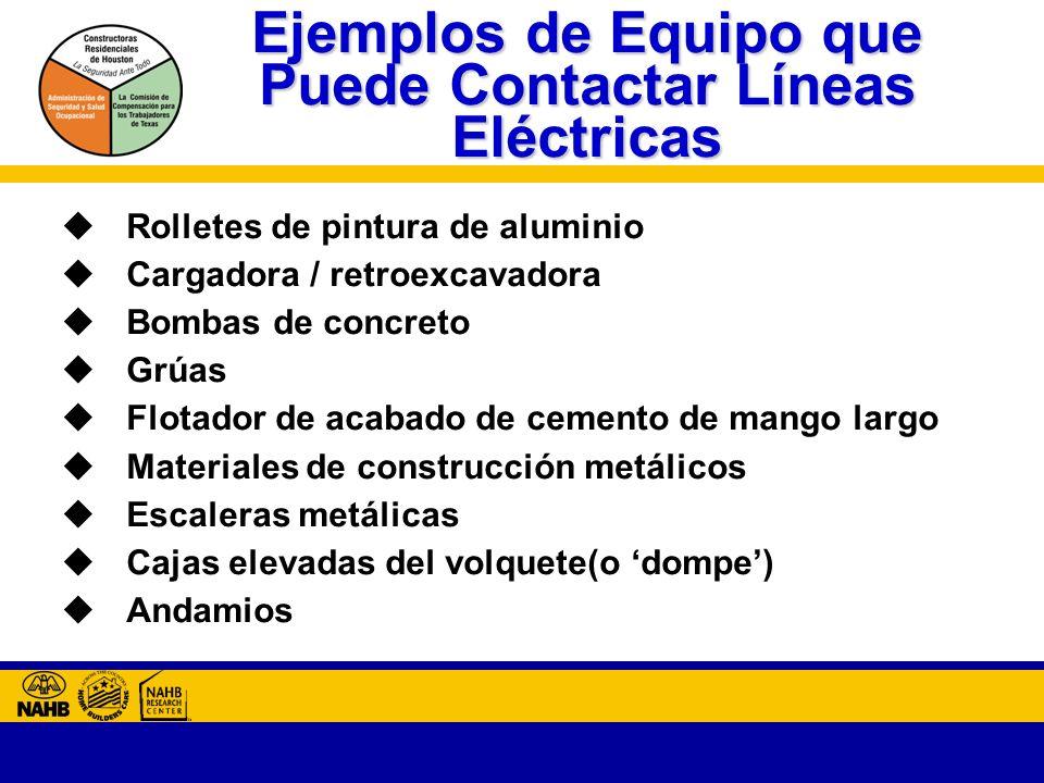 Ejemplos de Equipo que Puede Contactar Líneas Eléctricas