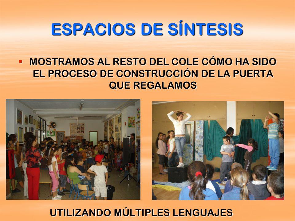ESPACIOS DE SÍNTESIS MOSTRAMOS AL RESTO DEL COLE CÓMO HA SIDO EL PROCESO DE CONSTRUCCIÓN DE LA PUERTA QUE REGALAMOS.