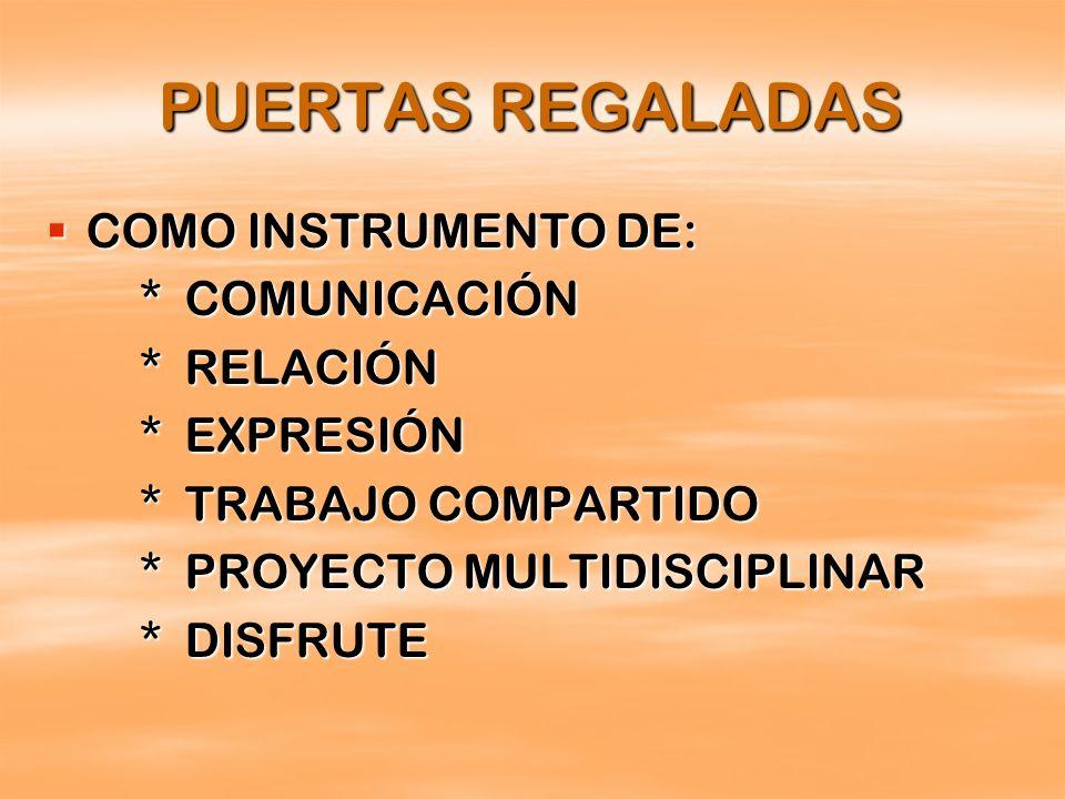 PUERTAS REGALADAS COMO INSTRUMENTO DE: * COMUNICACIÓN * RELACIÓN