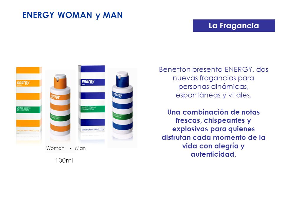 ENERGY WOMAN y MAN La Fragancia