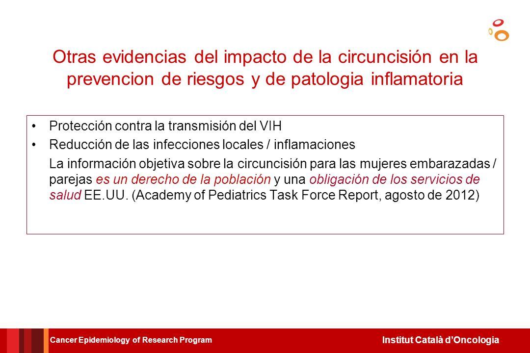 Otras evidencias del impacto de la circuncisión en la prevencion de riesgos y de patologia inflamatoria
