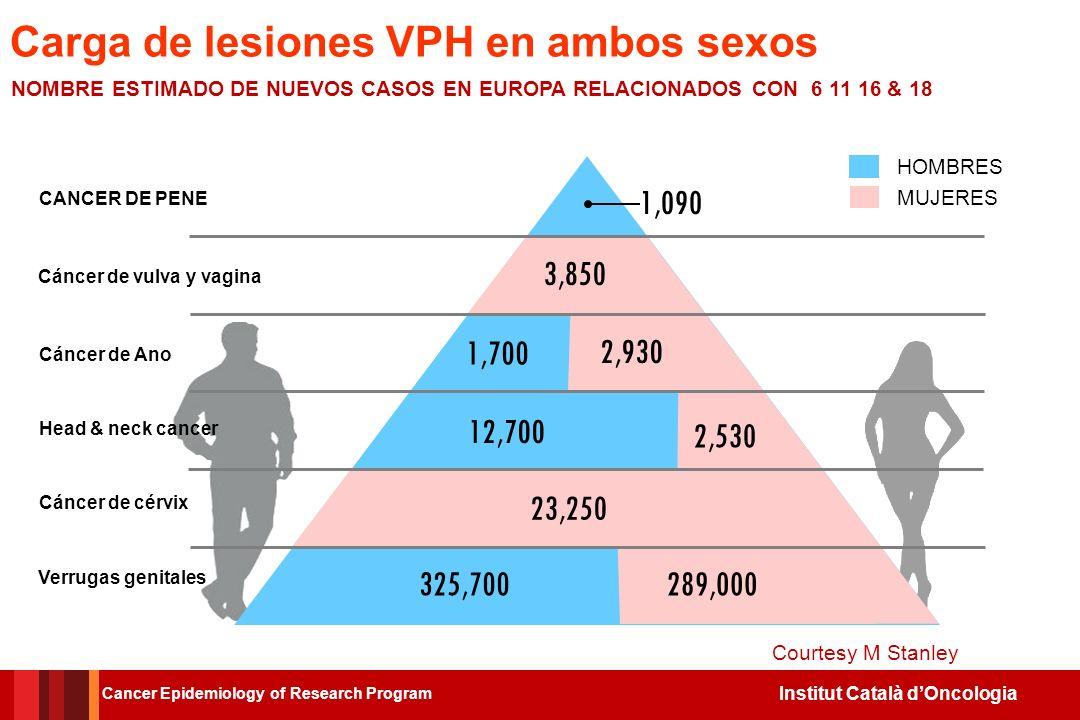 Carga de lesiones VPH en ambos sexos