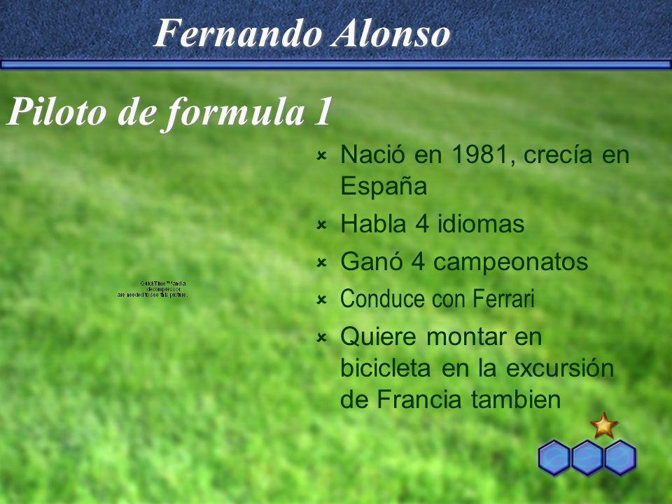 Fernando Alonso Piloto de formula 1 Nació en 1981, crecía en España