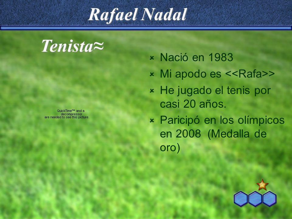Rafael Nadal Tenista≈ Nació en 1983 Mi apodo es <<Rafa>>