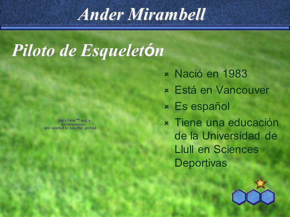 Ander Mirambell Piloto de Esqueletón Nació en 1983 Está en Vancouver