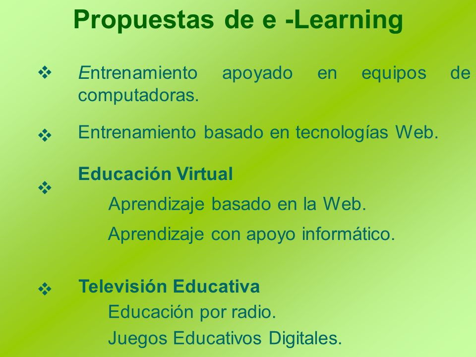 Propuestas de e -Learning