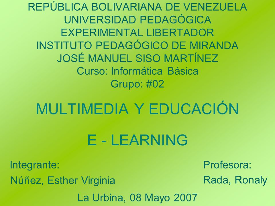 MULTIMEDIA Y EDUCACIÓN E - LEARNING