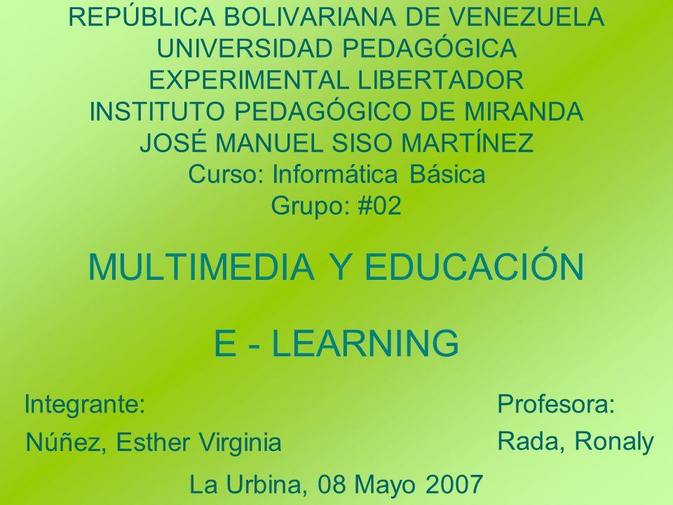 MULTIMEDIA Y EDUCACIÓN E - LEARNING