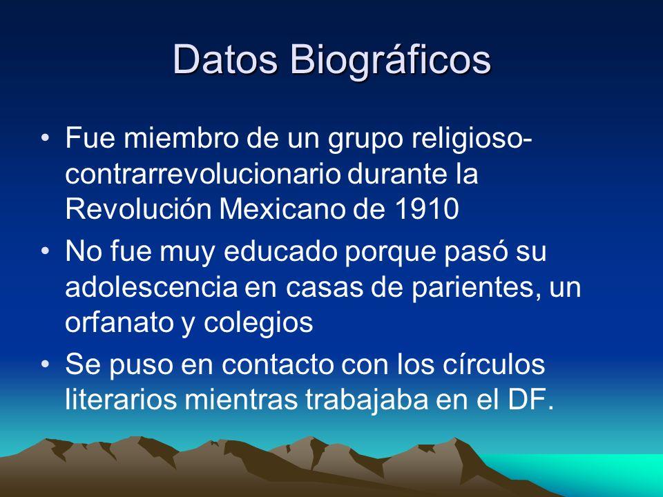 Datos Biográficos Fue miembro de un grupo religioso-contrarrevolucionario durante la Revolución Mexicano de 1910.