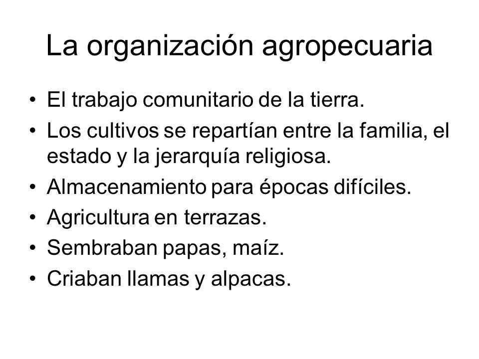 La organización agropecuaria