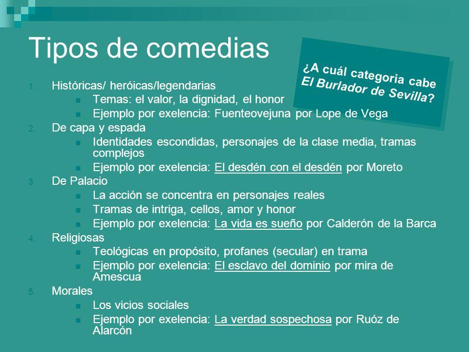 Tipos de comedias ¿A cuál categoria cabe El Burlador de Sevilla