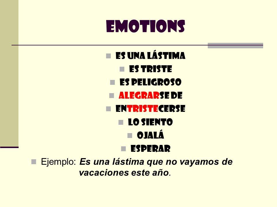Emotions Es una lástima Es triste Es peligroso Alegrarse de