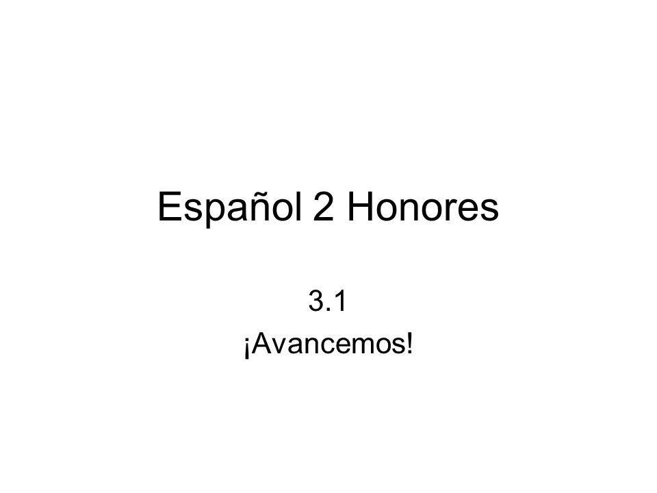 Español 2 Honores 3.1 ¡Avancemos!