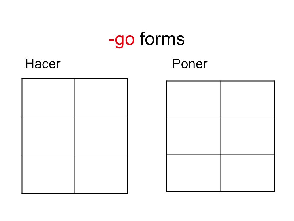 -go forms Hacer Poner