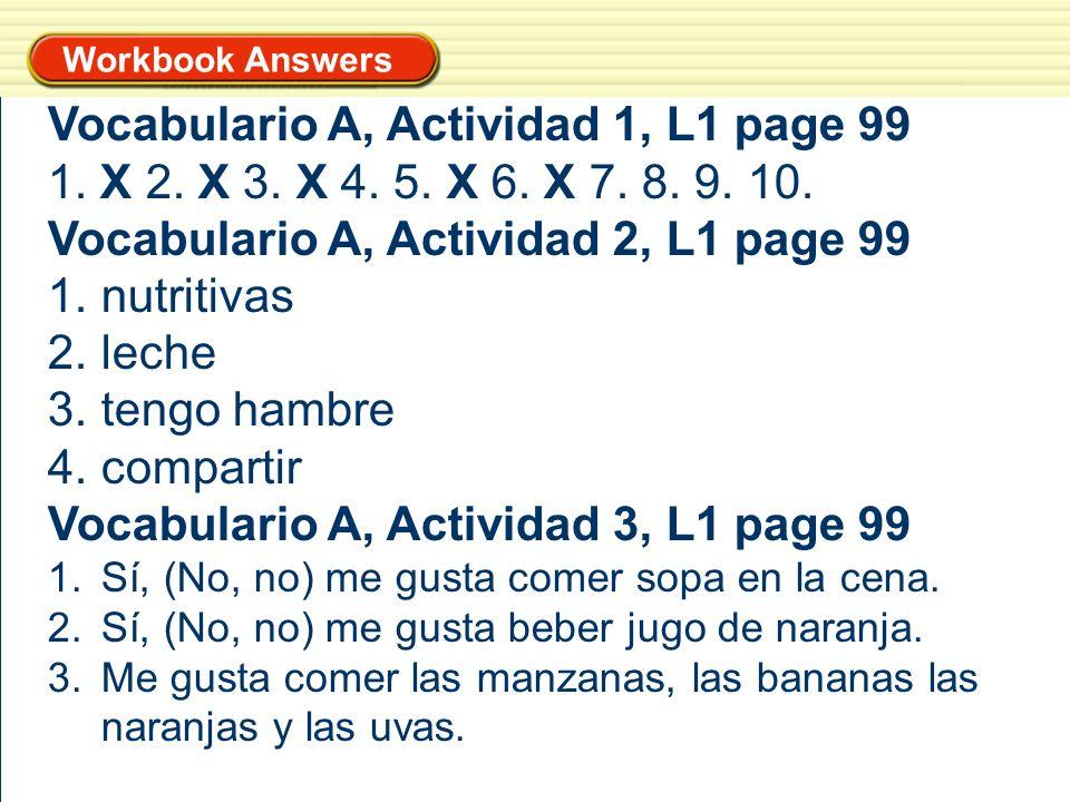 Vocabulario A, Actividad 1, L1 page 99