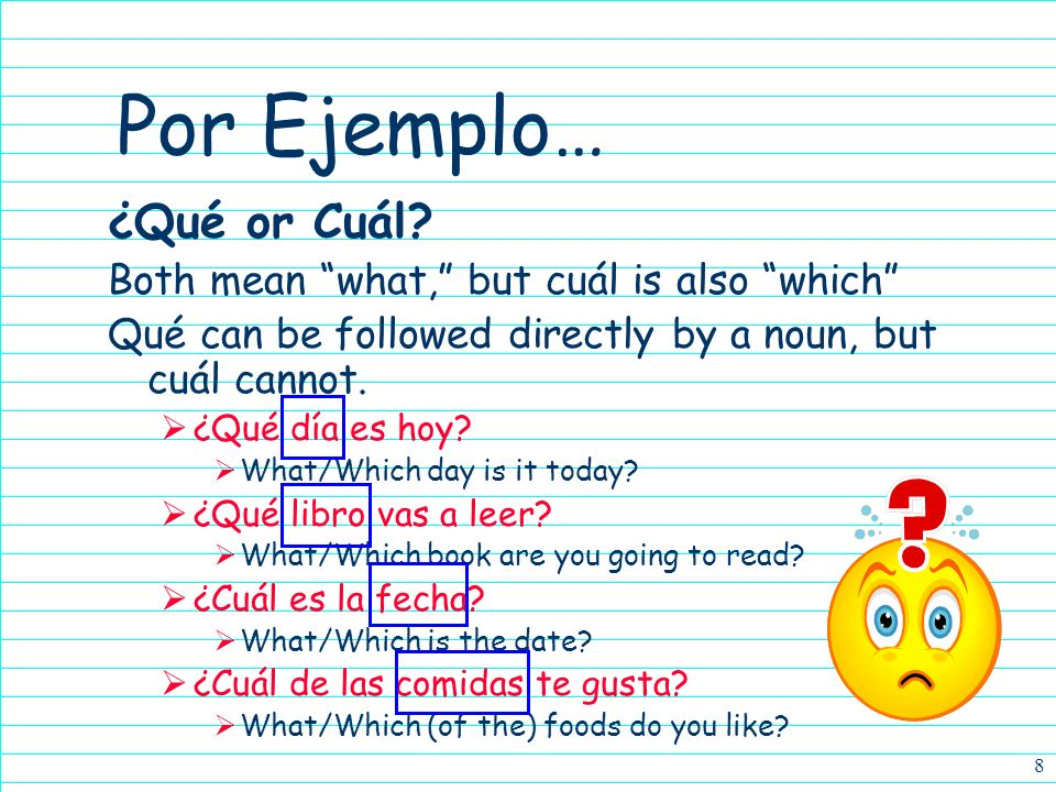 Por Ejemplo… ¿Qué or Cuál Both mean what, but cuál is also which