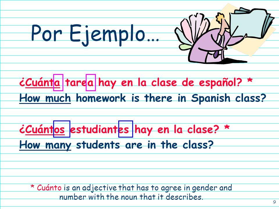 Por Ejemplo… ¿Cuánta tarea hay en la clase de español *