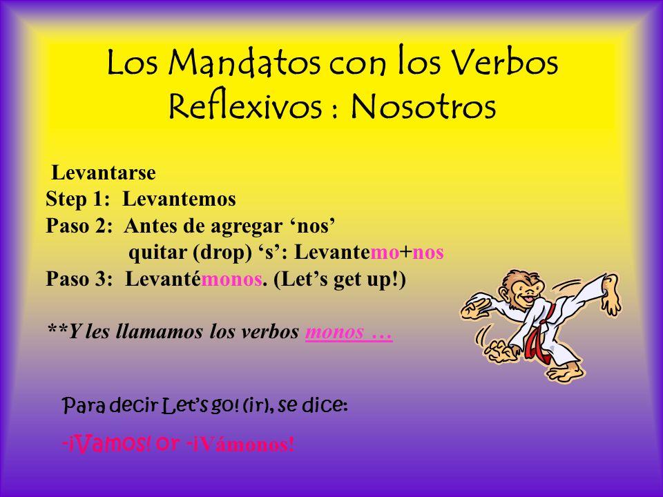 Los Mandatos con los Verbos Reflexivos : Nosotros