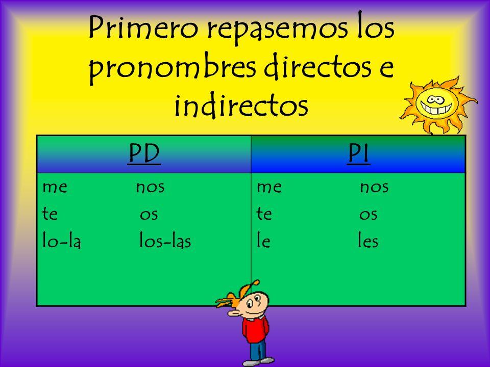 Primero repasemos los pronombres directos e indirectos