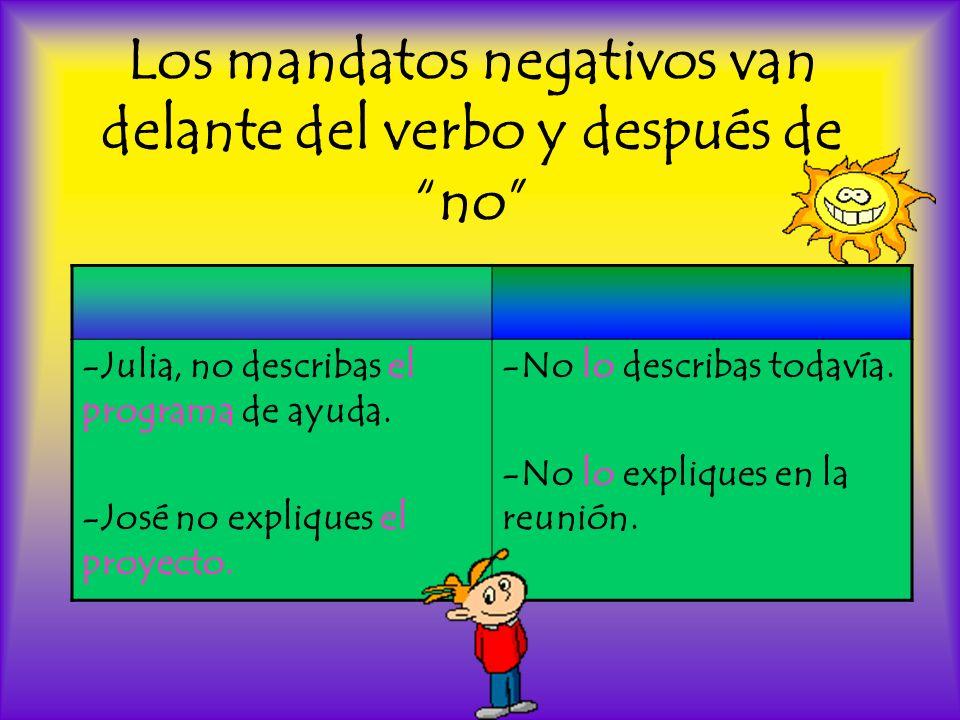 Los mandatos negativos van delante del verbo y después de no