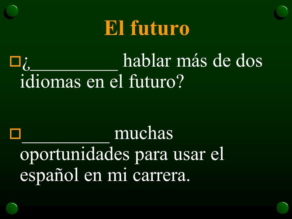 El futuro ¿_________ hablar más de dos idiomas en el futuro