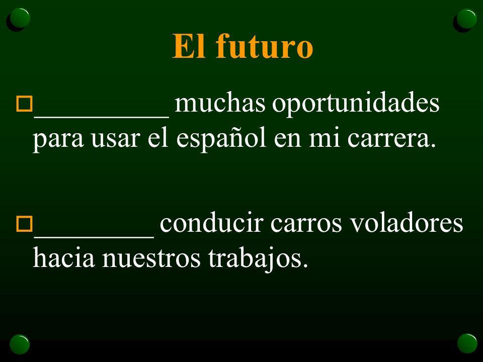 El futuro _________ muchas oportunidades para usar el español en mi carrera.