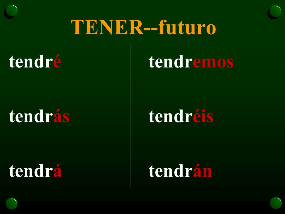 TENER--futuro tendré tendrás tendrá tendremos tendréis tendrán